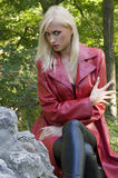 Blond girl anger in park Stock Photography