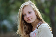Blond girl with beautiful long straight hair Royalty Free Stock Photography