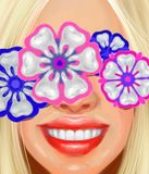 Blond girl with a beautiful smile and ornaments in the form of teeth in the style of oil painting Royalty Free Stock Photos