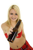 Blond Girl with beer Royalty Free Stock Photography