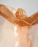 Blond girl behind a golden veil Stock Photos