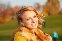 Blond girl with big nice smile Royalty Free Stock Image