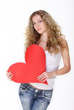 Blond girl with big valentine card Stock Photos