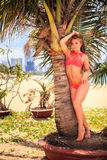 Blond girl in bikini leans on tip-toe at palm trunk touches hair. Cute blond longhaired slim girl in red bikini leans on tip-toe palm trunk touches hair against royalty free stock photo