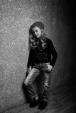 Blond girl black and white portrait Royalty Free Stock Images