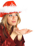 Blond girl blowing kiss isolated. Stock Photography