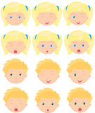 Blond girl and boy emotions: joy, surprise, fear, sadness Stock Photo