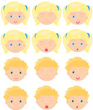 Blond girl and boy emotions: joy, surprise, fear, sadness, sorro Stock Images