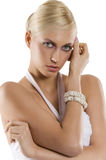 Blond girl with the bracelet Royalty Free Stock Image