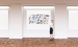 Blond girl and business sketch in art gallery. Side view of blond woman standing in art gallery with business sketch on horizontal poster. Concept of business as Stock Image