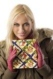 Blond girl christmas with christmas bag Royalty Free Stock Photos