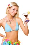Blond girl with a cocktail glass Royalty Free Stock Photos