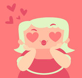 Blond Girl with Crazy Hearts Eyes Royalty Free Stock Photos