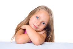 Blond girl cross hands Royalty Free Stock Images