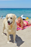 Blond girl with dog on the beach Stock Image