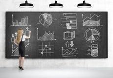 Blond girl drawing graphs on blackboard Royalty Free Stock Photo