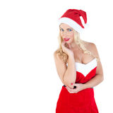 Blond girl dressed as Santa Claus Stock Photography