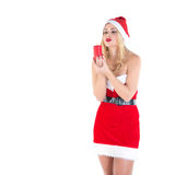 Blond girl dressed as Santa Claus Royalty Free Stock Photo