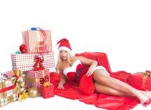 Blond girl dressed as Santa Claus Stock Photo
