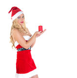 Blond girl dressed as Santa Claus Royalty Free Stock Image
