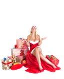 Blond girl dressed as Santa Claus Royalty Free Stock Photos