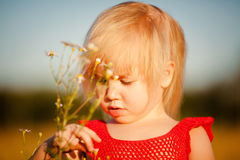 Blond girl in the field with flowers Royalty Free Stock Image