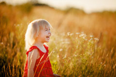 Blond girl in the field Royalty Free Stock Photography