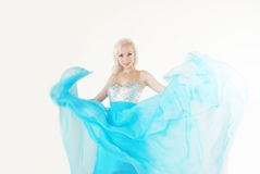 Blond girl. In flowing dress Royalty Free Stock Photos