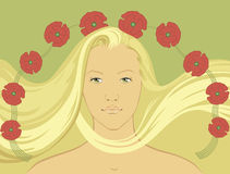Blond Girl with fly-away hair Royalty Free Stock Images