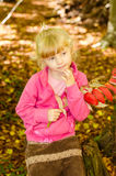 Blond girl in forrest Royalty Free Stock Image