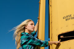 Blond Girl Freight Train Stock Photos