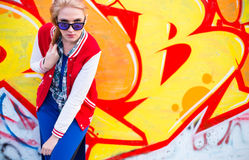 Blond girl in ghetto Stock Image