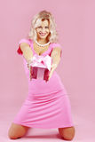 Blond girl with gift Royalty Free Stock Image