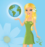 Blond girl with globe. Royalty Free Stock Photo
