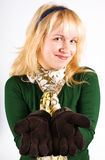 Blond girl with gloves Stock Photos