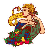 Blond girl hair in plait holding cornucopia with fruits and vegetables, harvest season  illustration Stock Photos