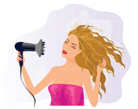 Blond girl with hairdryer Royalty Free Stock Image