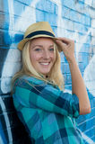 Blond Girl with hat Stock Photos