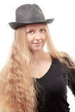 Blond girl with hat Royalty Free Stock Images