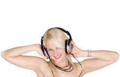 Blond girl with headphones Stock Photography