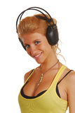 Blond girl with headphones Royalty Free Stock Photo