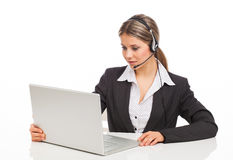 Support phone operator with laptop Royalty Free Stock Photo