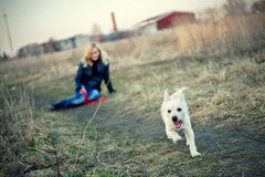 Blond girl with her puppy Royalty Free Stock Photo
