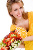 Blond girl and her salad Royalty Free Stock Image
