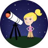 Blond Girl with her Telescope. Young blond girl looking through her telescope at the red planet Mars Royalty Free Stock Photography