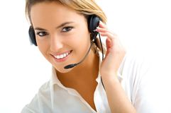 Blond Girl In Call Center