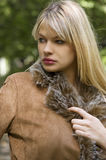 Blond girl with jacket Royalty Free Stock Photos