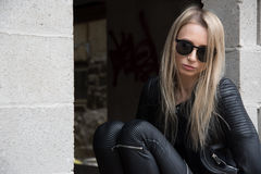 Blond Girl in Leather Outfit Royalty Free Stock Photo