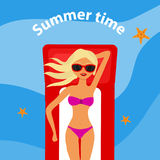 The blond girl lies on a water mattress on the water. Summer time. Flat design,  illustration Stock Photos