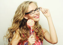 Blond  girl with  lolipop Stock Photography